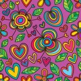 Flower love leaf purple color seamless pattern Stock Photos
