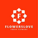 Flower love quality flat trend brand icon vector Stock Photos