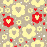 Flower love seamless repeatable pattern. Hearts and flowers pattern with white dots over brown background Stock Images