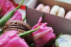 Flower macarons Royalty Free Stock Photography