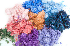 Flower made of crumbled makeup eyeshadows Royalty Free Stock Image