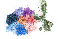 Flower made of crumbled makeup eyeshadows Stock Photos