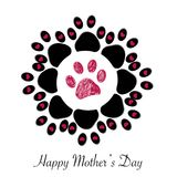Flower made of Paw print with hearts and ``Happy Mother`s Day`` text greeting card stock illustration