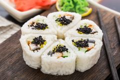 Flower made of sushi roll. Royalty Free Stock Photos