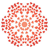 Flower made of valentines. Red abstract flower made of valentines Royalty Free Stock Photography