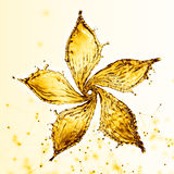 Flower made of water splash of yellow color Royalty Free Stock Photos