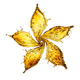 Flower made of water splash of yellow color Royalty Free Stock Photo