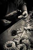 A Flower maker market seller Bangkok Thailand Royalty Free Stock Photography