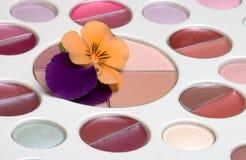 Flower on makeup set. Flower on eyeshadow makeup set stock photo