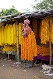 Flower man at the flower market, Kolkata, India Stock Photography