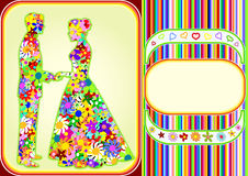Flower man and woman_frame Stock Photo