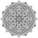 Flower mandala of black lines. Vector, flower mandala of black lines on a white background. Round element of decor with stylized ivy leaves. Template for any Royalty Free Stock Image