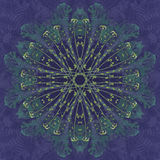 Flower Mandala with blue background. Ornamental round floral Pattern. Stock Photography