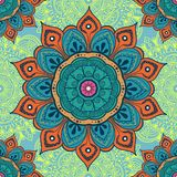 Flower mandala colorful background for cards, prints, textile and coloring books. Seamless pattern. Vector illustration Stock Photos