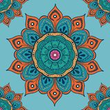 Flower mandala colorful background for cards, prints, textile and coloring books. Seamless pattern. Vector illustration Stock Photo