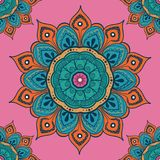 Flower mandala colorful background for cards, prints, textile and coloring books. Seamless pattern. Vector illustration Royalty Free Stock Photography