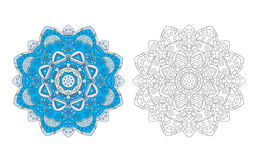 Flower mandala coloring page vector Royalty Free Stock Images
