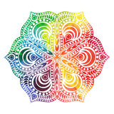 Flower mandala design in oriental style. Watercolor texture and splash.  Stock Image