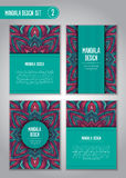 Flower mandala design set. Vintage decorative elements. Royalty Free Stock Image