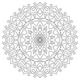Flower mandala with hearts. Coloring page for Stock Photography