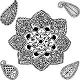 Flower Mandala and Paisley Stock Image