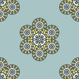 Flower mandala pattern. Vector seamless traditional ethnic oriental pattern. Colorful folkloric textile design with stylized sun symbols- round mandala Royalty Free Stock Photo