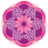 Flower Mandala in Pink Colors. Big Flower made of Little Flowers - Pattern Royalty Free Stock Images