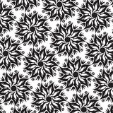 Flower Mandala Seamless Pattern - Black and White Colors Stock Photos