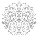 Flower mandala on white background. Coloring book page. Stock Photo