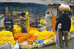 Flower Market - Kolkata (Calcutta) - India Stock Photos