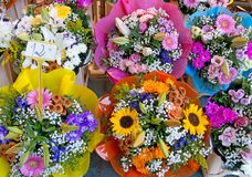 Flower market, bouquets costing 12euros. Beautiful. Overhead view. Royalty Free Stock Photos