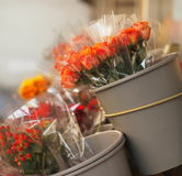 Flower market. Bunch of orange roses royalty free stock photos