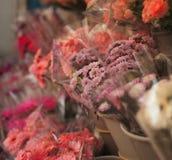 Flower market. Bunch of purple chrysanthemums royalty free stock photo