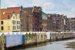 Flower market, canal in Amsterdam, Holland Stock Image