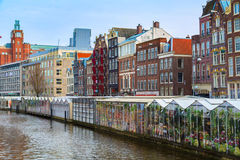 Flower market, canal in Amsterdam, Holland Royalty Free Stock Photos