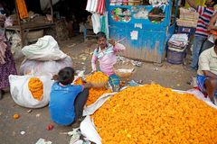 Flower market, Kolkata, India Stock Photo