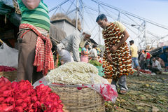 Flower market of Kolkata, West Bengal, India. KOLKATA, WEST BENGAL / INDIA - FEBRUARY 13TH : Buying and selling of flowers in crowded and colorful Mallik Ghat or Royalty Free Stock Photo