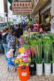 Flower market in Kowloon, Hong Kong Stock Image