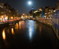 Flower Market by moonlight. Night scenery in Amsterdam Stock Photography