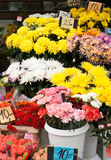 Flower market at the street. Street flower market. Different bouquets royalty free stock photography