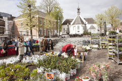 Flower martket and old church in Veenendaal. Flower martket and old church in the dutch town of Veenendaal royalty free stock photos