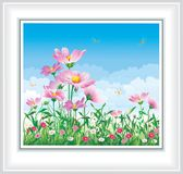 Flower meadow with daisies. On a blue sky background with clouds. Vector illustration stock illustration
