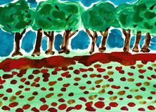 Flower Meadow with Green Trees. This is a hand drawn water color painting. The painting shows a row of trees in the background and meadow with red flowers in the Stock Image