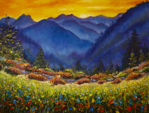 Flower meadow in the mountains. Original oil painting of flower meadow in the mountains on canvas. Modern Impressionism Art. Artwork Royalty Free Stock Photo
