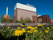 Flower meadow and power plant Royalty Free Stock Image