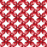Flower Mesh rubies seamless texture vector. Flower braided Mesh with rubies on a white background. Seamless texture, vector Stock Photo