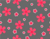 Flower and mini size flower on gray. Background, Pink flower on gray background seamless pattern, Not ordered, Sweet style pattern, Cute pattern vector for Gift royalty free illustration