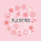 Flower minimal outline icons Stock Image