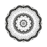 Flower monochrome botanical vector mandala with the blossoming lotus is isolated on a white background. Page for coloring Stock Image