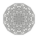 Flower monochrome geometrical vector mandala is isolated on a white background. Decorative element with east motives for design Royalty Free Stock Images
